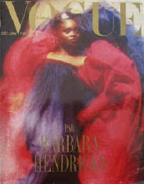 Vogue Paris Nr. 682, Decembre 1987 - Janvier 1988. Par Barbara Hendricks. En couverture Barbara Hendricks.  Paris, Les Editions Conde Nast, 1987.