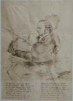 Ryman in Oxford - The other day a great philosopher ... Metaphysics ... Logic ... Theology ... Faith .... Early reproduction of a caricature around 1860 on Reynolds Bristol Board