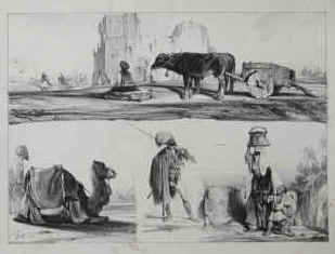 3l lithographs around 1830 by Alexandre-Gabriel Decamps: an Arab Caravan. A Bedouin and a camel in a desert landscape. A Bedouin chieftain and a Bedouin woman.
