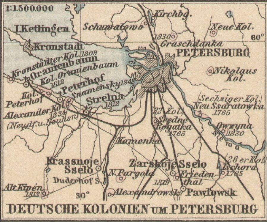 Rußlanddeutsche - Deutsche Kolonien um Petersburg - Kronstadt, Oranienbaum, Peterhof, Strelna, Krassnoje Sselo, Zarskoje Sselo, Pawlowsk, Owzyna, Kirchberg, Tschora, Alt Kipen