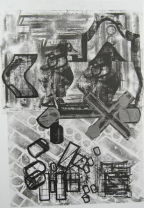 artist Barry Le Va Collaged Lithograph VIII
