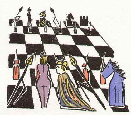 The Game of Chess I - hand-coloured chess woodcut by Elke Rehder