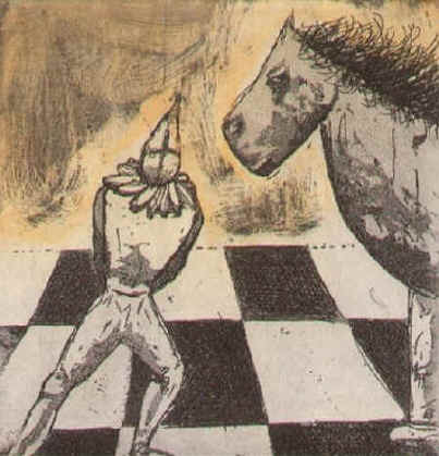 Under the guidance of the knight - chess etching by Elke Rehder