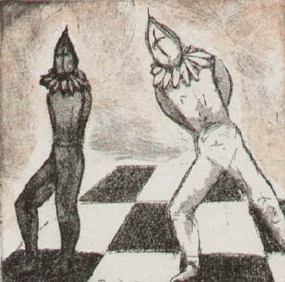 The crucial step - chess etching by Elke Rehder