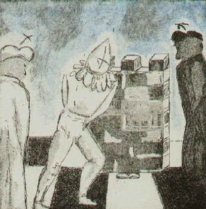 Let us not deceive ourselves - chess etching by Elke Rehder