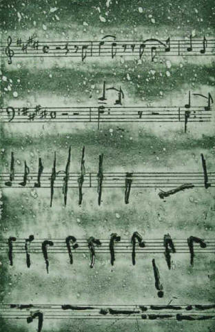 Song by Heinrich Heine - Music by Franz Liszt - Poisoned are my Songs - etching by Elke Rehder