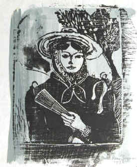 artist Paul Ren� Gauguin, Girl from Spain,  Spanish Woman. Woodcut with painting signed and dated 1935.