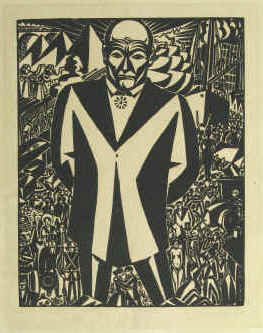 Frans Masereel - Business-man (businessman). Original woodcut published in 1920 for Genius. Signed in the block.