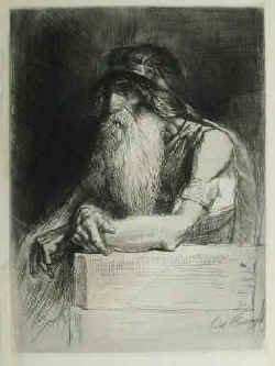 artiste Léopold Flameng - The old chief with helmet, bracelet and a long beard. Etching by Léopold Flameng, signed in the plate.