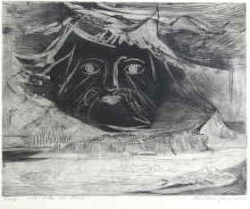 artist Paul Ren� Gauguin - �lymbos - Mount Olympus in Greece. Etching from 1956, numbered and signed by the artist.