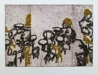 artist Ida Barbarigo, Les chaises - chairs outside a café in Saint Mark's Square - color etching with carborundum numbered and signed