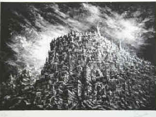artist Pierre Clayette - Les innombrables (the countless). Lithographie signé par Pierre Clayette.