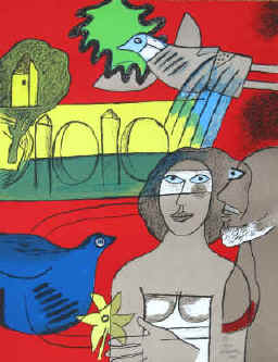 artist Corneille - Les amoureux de L'Isle-Adam. Color lithograph from 2001 numbered and signed by Corneille.