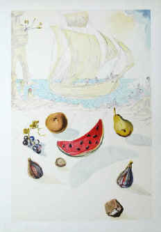 Salvador Dali - Ship and fruits. Watercolour painting by Salvador Dali reproduced 1986 in lithography in a limited numbered edition by SPADEM Paris.