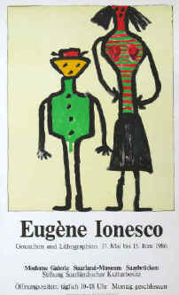Eugène Ionesco - Gouachen und Lithographien. Original color lithograph poster for the exhibition 1986 at Moderne Galerie Saarland-Museum Saarbrücken. Printed by Erker-Presse St. Gallen.
