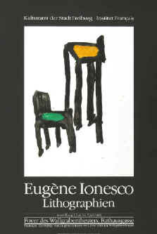 Eugène Ionesco - Lithographien. Original color lithograph poster for the exhibition 1984 at Wallgrabentheater Freiburg. Printed by Erker-Presse St. Gallen.