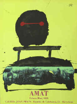 artist Frederic Amat color lithograph. Art exhibition poster 1989. Galeria Joan Prats, Barcelona.