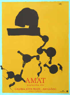 Frederic Amat original color lithograph poster 1992, Joan Prats gallery in Barcelona, Spain.