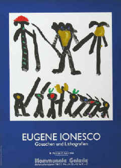 Eugène Ionesco - Gouachen und Lithografien. Original color lithograph poster for the exhibition 1984 at Kommunale Galerie, Berlin. Limited edition printed by Erker-Presse St. Gallen.