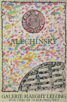 Art exhibition poster - Pierre Alechinsky - Bouches et Grilles. Original color lithograph poster for the exhibition from 29 April - 28 June 1986 at Galerie Maeght Lelong, Paris.