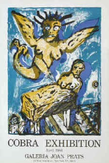 Lucebert - Composition with Angel, 1986  art exhibition poster - Cobra Association. original color lithograph.