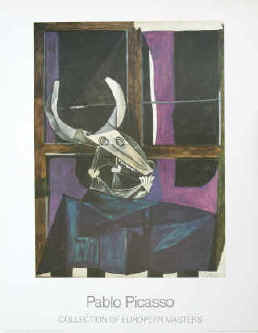 Pablo Picasso - Nature morte au crane de boeuf. Color poster after the painting from 1942 in the Kunstsammlung Nordrhein-Westfalen Düsseldorf. Collection of European Masters 1986.