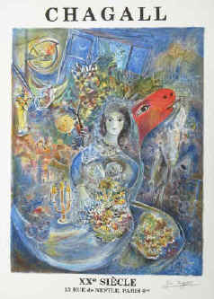 Marc Chagall - Bella's Wedding. Art print by Marc Chagall, published for XXe Siècle, Paris.