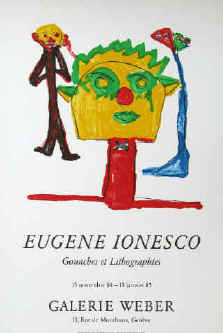 Eugène Ionesco - Gouaches et lithographs. Original color lithograph poster for the exhibition 1985 at Gallery Weber in Geneve. Printed by Erker-Presse St. Gallen.