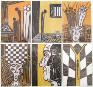 Set of six artists' postcards to the chess story The Royal Game by Stefan Zweig