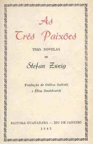 first edition of The Royal Game by Stefan Zweig in As três Paixões, Guanabara, Rio de Janeiro September 1942.