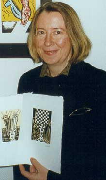 the artist Elke Rehder with woodcuts to the chess story The Royal Game by Stefan Zweig