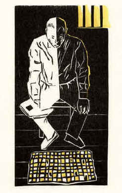 In Memoriam of Stefan Zweig, woodcut against isolation and solitary confinement and torture.